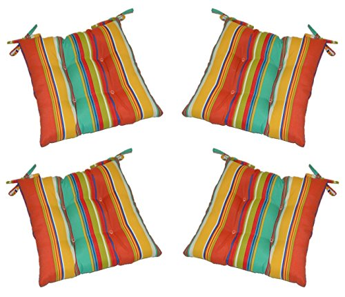 Set of 4 - Indoor/Outdoor Coral, Yellow, Turquoise Bright/Colorful Stripe Universal Tufted Seat Cushions with Ties for Dining Patio Chairs - Choose Size (21