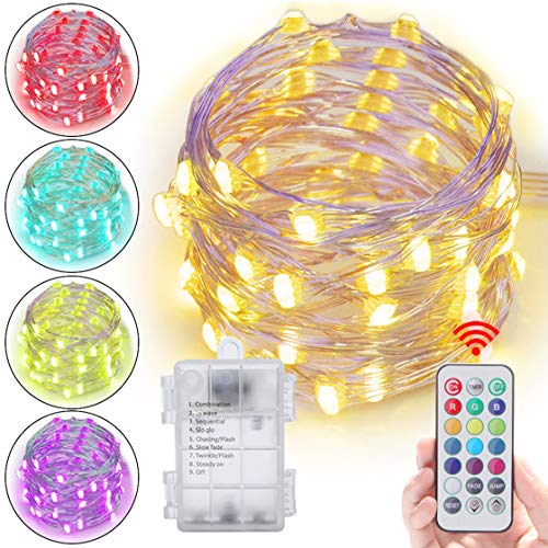 Abtong Led String Lights Battery Powered, 13 Colors Battery Fairy Lights with Remote Waterproof Firefly Twinkle Lights Sliver Cooper Wire Lights for Bedroom,Patio,Outdoor Garden, 5M/16.4ft ()
