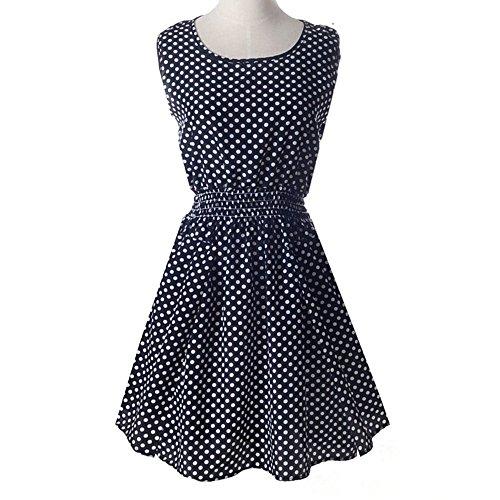 Bluelans® Femmes Été Flare Casual Robe Sans Manches Floral Noir