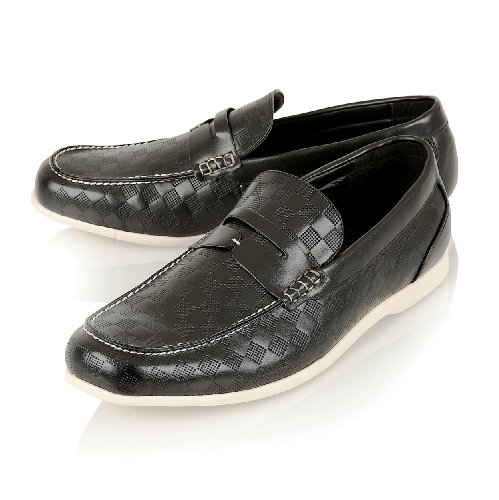 Mocasines cordones Reino sin Mens Pu Mocasines Inspired Negro Designer EU 44 10 Casual Leather Unido HxUYAa8U