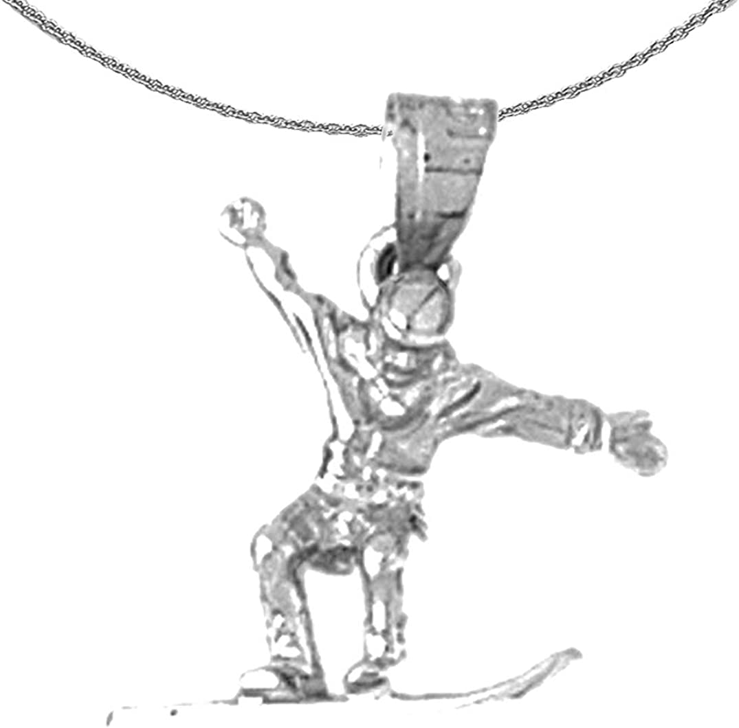 Rhodium-plated 925 Silver 3D Snow Boarder Pendant with 18 Necklace Jewels Obsession Silver 3D Snow Boarder Necklace