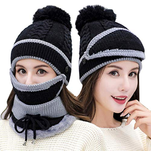 Vovomay Womens Winter Beanie Hat and Scarf Set Warm Knitted Cap with Scarf Unisex (Black) -