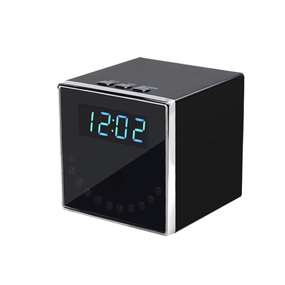 Mengshen 1080P Camé ra sans Fil WiFi Mini Black Cube Shape Horloge de Table Home Security Hidden Spy Camera MS-WH10