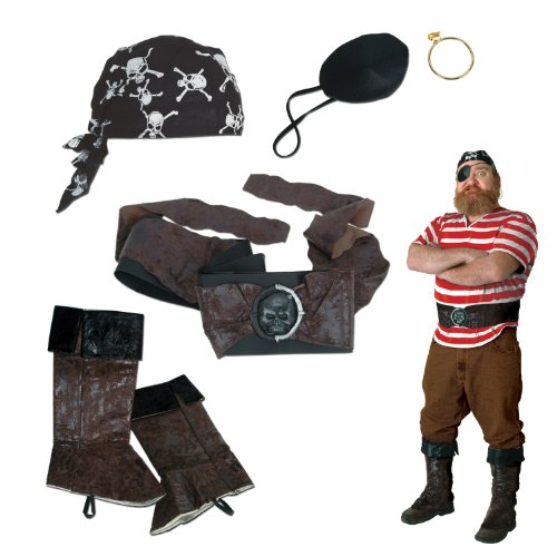 [Pirate Set Includes: Boot Toppers, Head Scarf, (Eye Patch, Earring, Belt) Party Accessory  (1 count)] (Scarf Halloween Costumes)
