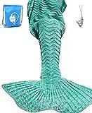 LAGHCAT Mermaid Tail Blanket Knit Crochet Mermaid Blanket for Adult, Oversized Sleeping Blanket, Wave Pattern (75''x35.5'',Mint Green)