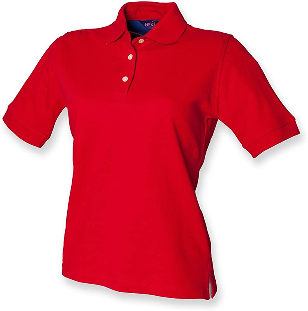 18, Classic Red) - Henbury Ladies Classic Pique Polo Shirt: Amazon ...