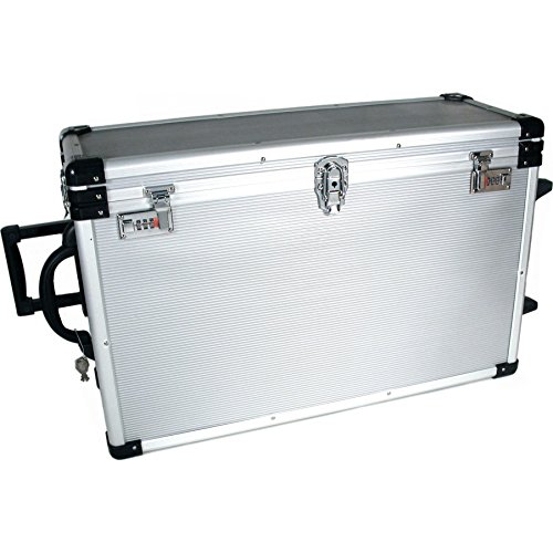 24 Trays Large Aluminum Rolling Jewelry Carrying Case by Findingking
