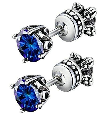 Daesar Stainless Steel Earrings Mens Womens Stud Earrings Vintage Reversible Blue CZ Earring for Women