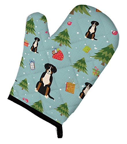 """Caroline's Treasures BB4697OVMT Christmas Greater Swiss Mountain Dog Oven Mitt, 12"""" by 8.5"""", Multicolor"""