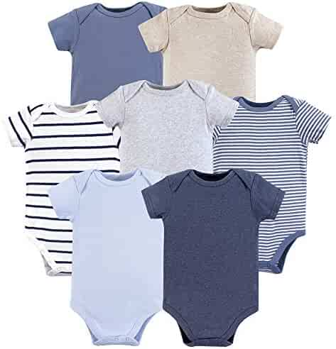 Hudson Baby Short Sleeve Bodysuits, 3 Pack