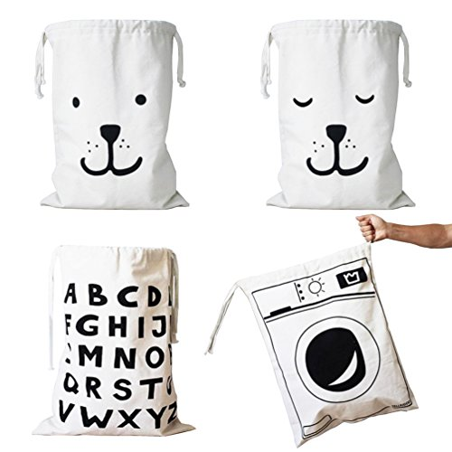 Wujee Canvas Toy Storage Bag - Clothes Gift Organizer Container - Space Saver Packing Bag for Home Office Travel (4PCS) (Good Easy Halloween Costumes College)