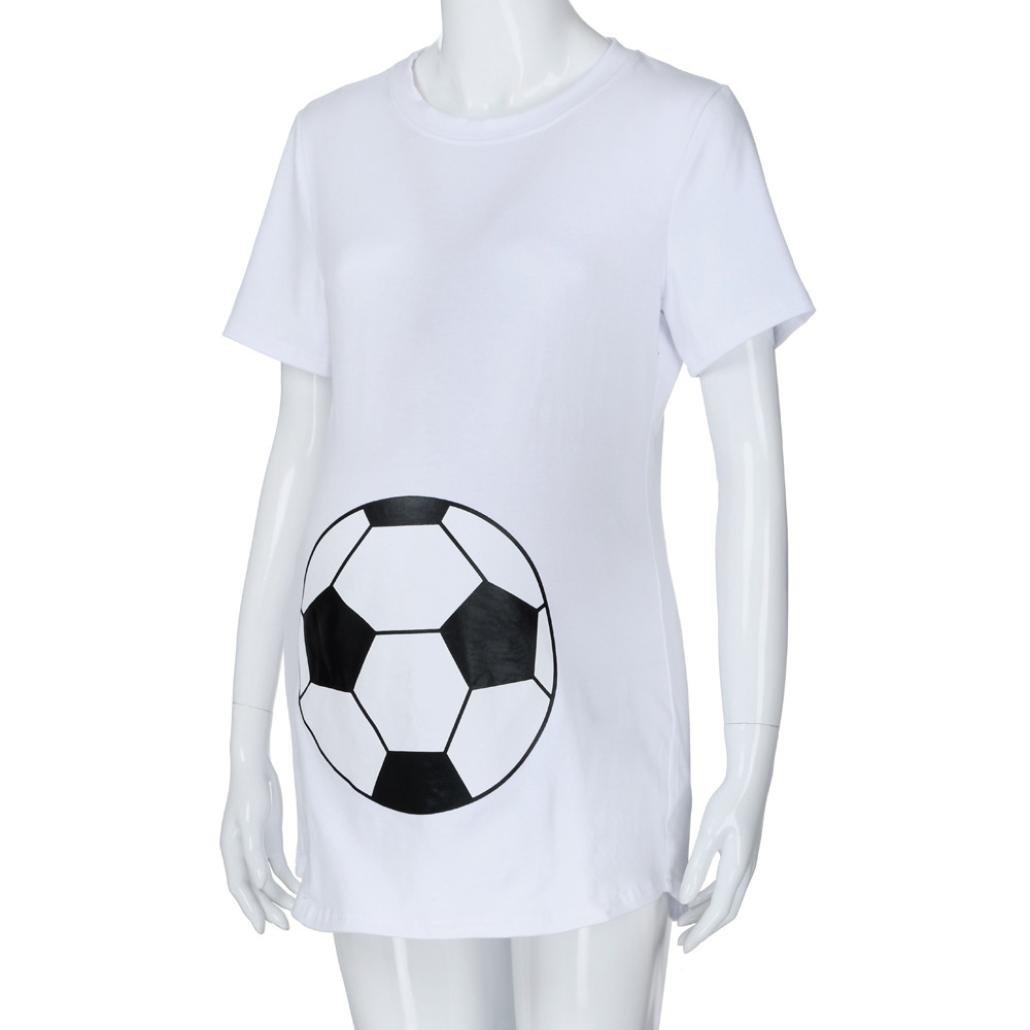 Kurzarm MCYs Fu/ßball Print Schwangerschafts beil/äufige Krankenpflege Bluse Mutterschaft T-Shirt Tops Mutterschaft Geschenk