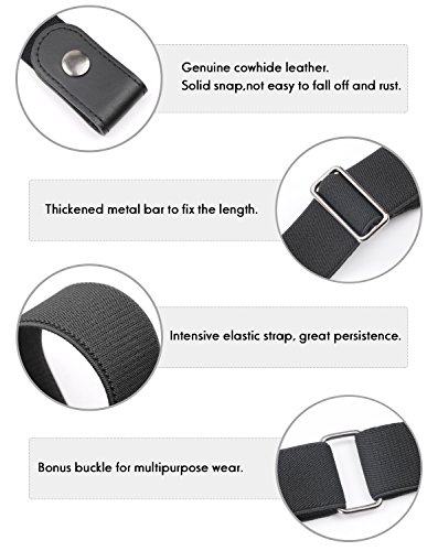No Buckle Women/Men Stretch Belt Elastic Waist Belt Up to 42'' for Jeans Pants Dresses (Pants Size 34''-48'', 01-black) by WERFORU (Image #1)