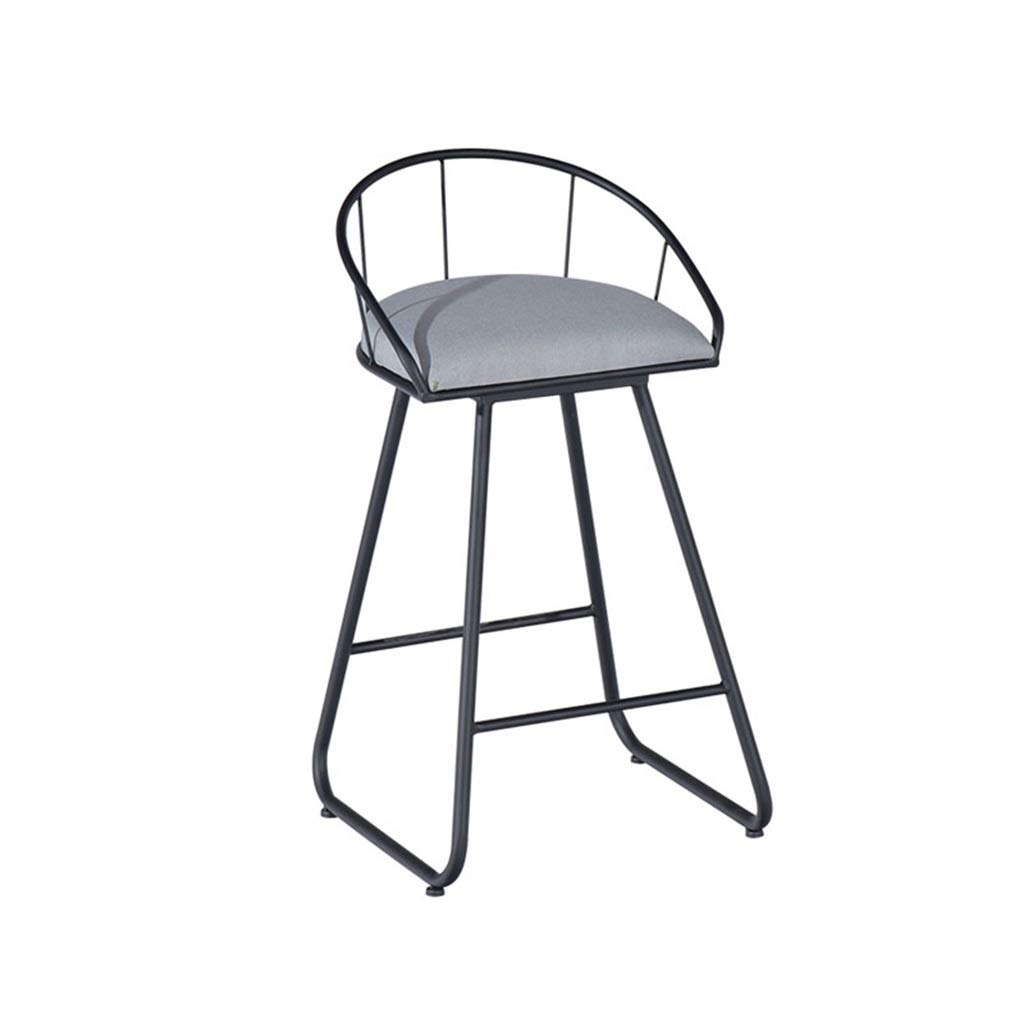 Black 45cm Fashion Sturdy Bar Stools Upholstered Dining Chairs for Kitchen Pub Metal Legs Barstools Max Load 200kg