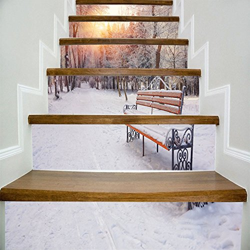 Ezyforu Wall Decals Stickers 3D Winter View Bench Vinyl Removable Home Decor Party Supplies Wallpapers for Stairway Ladder Mural