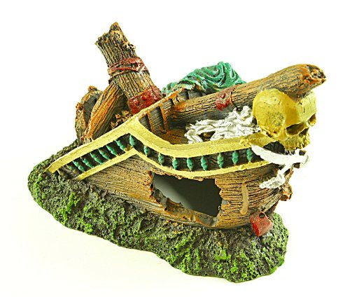 Sunken Galleon on Rocks Aquarium Ornament, Fish Can Enter and Hide