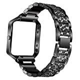 Stainless Steel Bands for Fitbit Blaze Replacement Band Strap with Rhinestone Bracelet Smart Watch Black