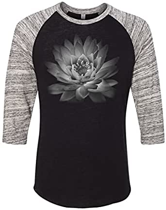 Mens LOTUS FLOWER 3/4 Sleeve Raglan Tee, Small Eco True Black/Urban Grey