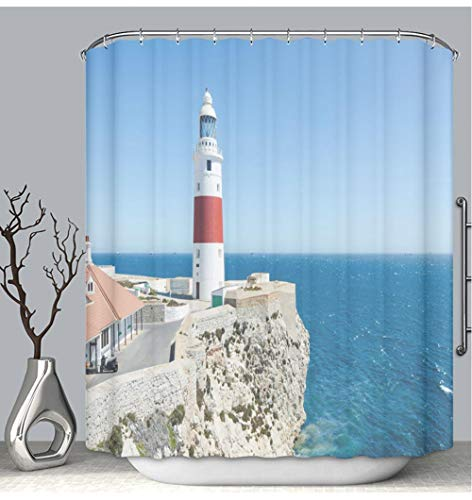 BEICICI Color Shower Curtain Liner Anti-Mildew Antibacterial Europa Point Lighthouse Trinity Lighthouse or Victoria Tower on The Cliff Custom Shower Curtain Bathtub Bathroom Accessories 72W×78Linch