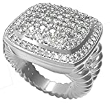 Gempara Designer Inspired Twisted Cable Albion Simulated Diamonds Ring Size 7