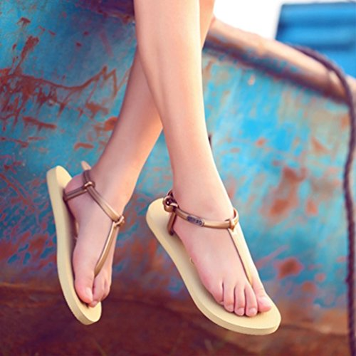 Baymate Mujer Zapatos De La Playa Simple Sandalias Planas Moda Chanclas Gold