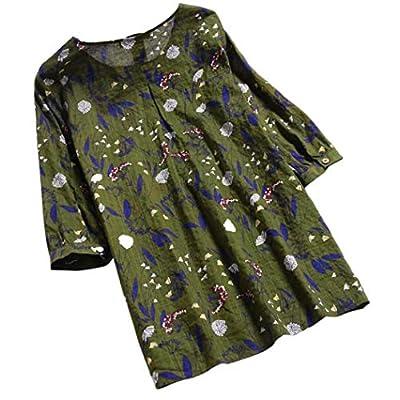 JOFOW Women's Blouse Cotton Linen 3/4 Long Sleeve Floral Print O Neck Loose Tops Plus Size S-3XL