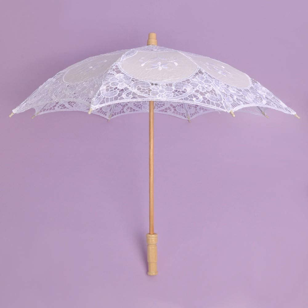 HULKAY Upgrade Lace Embroidered Sun Parasol Umbrella Bridal Wedding Dancing Party Photo Show White