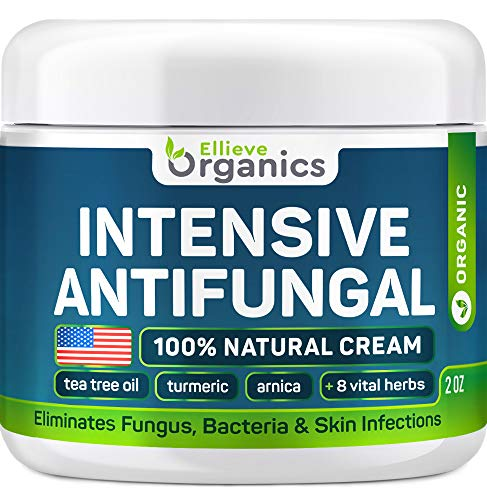 ELLIEVE Organics Antifungal Cream 2 OZ - Made in USA - Eliminates Fungus, Bacteria & Skin Infections - 100% Natural Ringwórm and Jock Itch Treatment - Helps with Athlete's Foot, Toenail Fungus (The Best Jock Itch Cream)