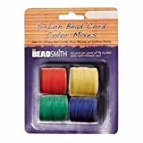 4 Spools Super-lon #18 Cord Ideal for Stringing Beading Crochet and Micro-macram Jewelry Compatible with Kumihimo Projects S-lon Primary Mix