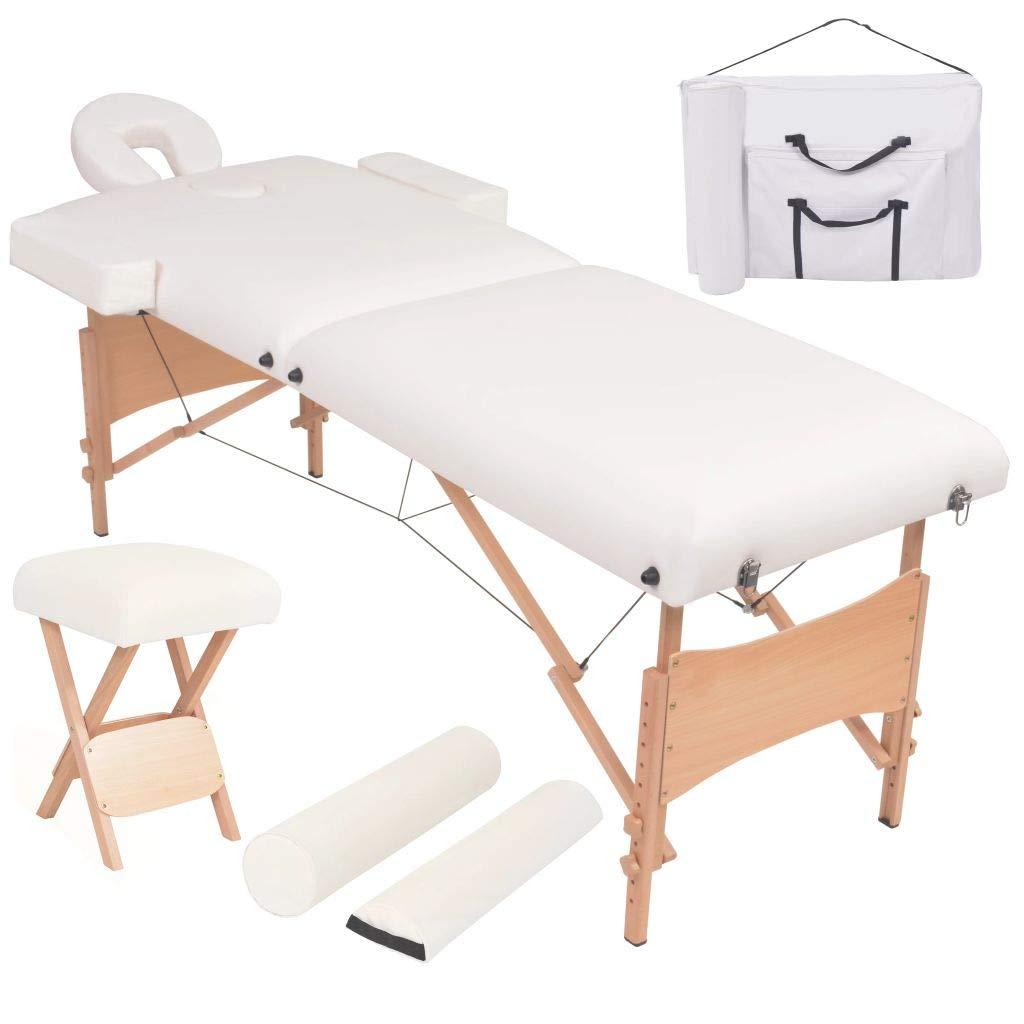 Festnight- Massageliegen Massagebett 2 Zonen Tragbar mit Hocker Zusammengeklappt 10 cm Polsterung Weiß