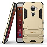 Heartly LeEco Le 2 Back Cover Graphic Kickstand Hard Dual Rugged Armor Hybrid Bumper Case - Mobile Gold
