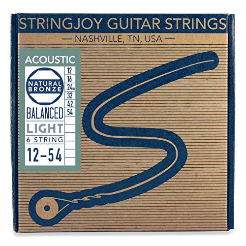 (Stringjoy NB1254 Natural Bronze Acoustic Guitar Strings, (Light Gauge - 12-54))