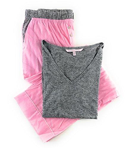 jama Set Mayfair Cotton Pants and Short Sleeve Tee Lt Gray Pink Stripe Large ()
