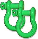 """Powdercoated """"GECKO GREEN"""" - 3/4 inch Jeep D-Shackles – (PAIR) (4X4 VEHICLE RECOVERY)"""