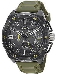 Diesel Mens DZ4396 Heavyweight Black Ip  Green Silicone Watch