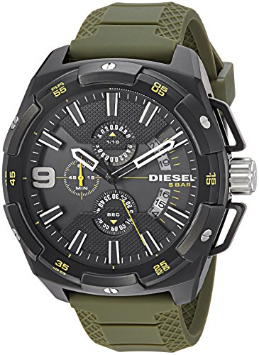 - Diesel Men's DZ4396 Heavyweight Black Ip Green Silicone Watch