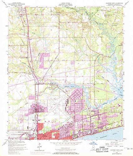 YellowMaps Gulfport North MS topo map, 1:24000 Scale, 7.5 X 7.5 Minute, Historical, 1954, Updated 1971, 26.8 x 22.9 in - Paper (West Mississippi Gulfport)