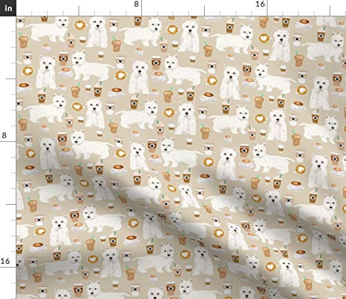 - Westie & Coffee Fabric - White Westie Coffee Love On Tan Westie Coffee Dog Coffee Love Pet Nursery Pet Print on Fabric by the Yard - Petal Signature Cotton for Sewing Quilting Apparel Crafts Decor