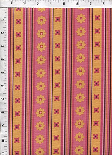 "Michael Miller Patty Young ""Flowery Stripe"" Candy Pink Fabric"