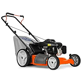 Husqvarna Push Lawn Mower 49 21-inch, gas-powered push lawn mower with 160cc Honda GVC160 engine, ideal for smaller yards 3-in-1 cutting system--mulch, rear bag, and side discharge 12-inch rear wheels increase maneuverability over a variety of terrain