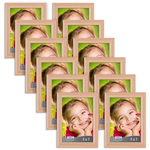Icona Bay 5 by 7 Inch Picture Frames (5x7, 12 Pack, Beech Wood Finish), Photo Frame Set For Wall Hang or Table Top, Lakeland Collection