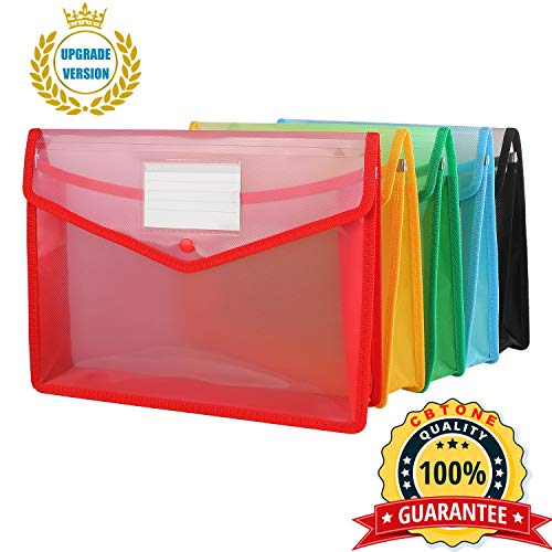 A4 Plastic Wallet Folder Envelope, CBTONE 5 Pack Waterproof Poly Envelope Plastic File Wallet Document Folder with Button Closure for School Office Home - Red Blue Yellow Green Black