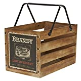 Household Essentials Large Decorative Wood Crate for Storage with Handles, Brown / Brandy Design