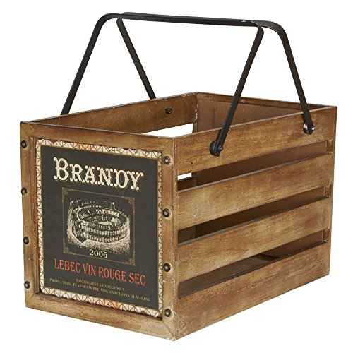 Household Essentials Large Decorative Wood Crate for Storage with Handles, Brown / Brandy Design (Ends Wine Crate)