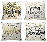 Merry Christmas Series Cotton Linen Decorative Throw Pillow Covers 18 Inch By 18