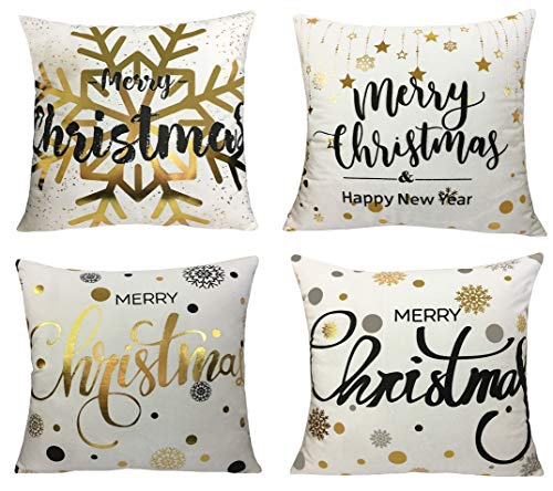 Gold Soft Velvet Christmas Decorative Throw Pillow Covers Set 18 Inch By 18 Inch (Gold Foil Xmas 4)