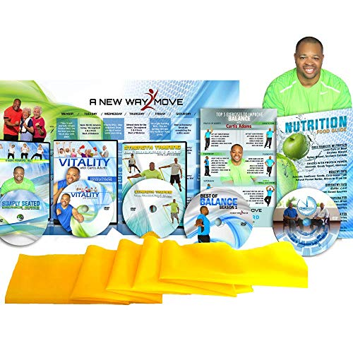 Premium, Senior Exercise DVD System: 5 DVDs + Resistance Band + Balance Exercises + Nutrition Guide + More. All Exercise for Seniors are Shown Both Standing and Seated in Chair Exercise You Will Love! (Best Balance Exercises For Seniors)