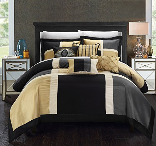 (Chic Home Aletta 7 Piece Comforter Contemporary Patchwork Solid Color Block Pattern Design Complete Bedding Set - Decorative Pillows Shams Included, King, Black )