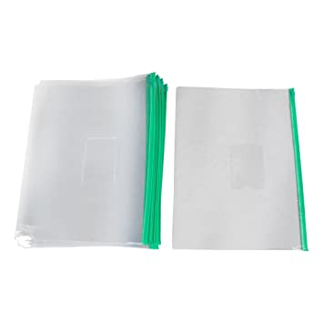 a949ae65d87b uxcell Ziplock Closure Size A4 Paper Slider Folders Files Bags 20 Pcs Green  Clear