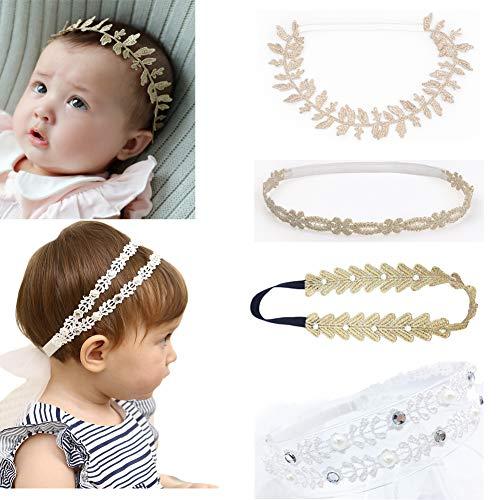 (DANMY Baby Girl Rhinestone Crown Headbands Toddler Princess Headband Hair Accessories (Gold Band1 (4pcs)))